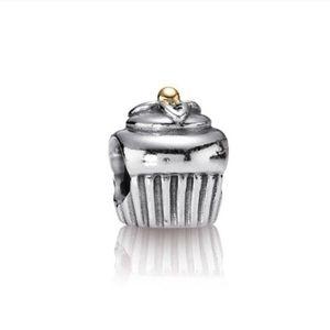 Pandora Retired 14k Two Toned Cupcake Charm